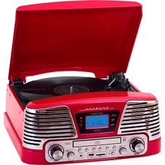 Sistema de Som Hi-Fi com Toca-Discos, CD Player, USB e SD CTX Harmony - Vermelho