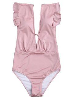 9d3eea359fd One Piece Swimwear, Bikini Swimwear, Plunging One Piece Swimsuit, Pink  Swimsuit, Swimsuits