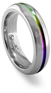 Men's Grey Titanium Grooved Rainbow Dome Ring