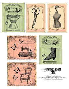 Free Sewing Room Chic Embellishments/Tags ~ Ephemera's Vintage Garden