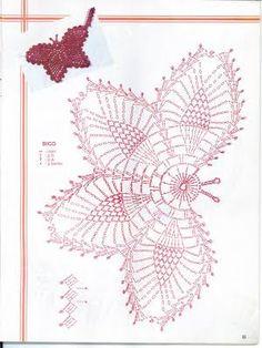 Resultado de imagem para BORBOLETA E FLORES DE CROCHE GRAFICOS