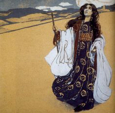 A painting by Vardges Surenyants (1860-1921) depicting an Armenian folktale. Apparent is the influence of Japanese art.    chotai: