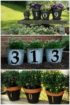 Front Porch Ideas Flower Pot Craft - Home Address Flower Pots, we love these 3 creative ideas. Front Porch Ideas on Frugal Coupon Living - Inspire The Welcome of your Home This Spring! Flower Pot Crafts, Flower Pots, Flowers, Lawn And Garden, Home And Garden, Outdoor Projects, Outdoor Decor, Diy Projects, Outdoor Chairs