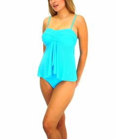 Take a look at the Fit 4 U Ocean Fit 4 Ur Tummy Twist Tankini Top - Women on #zulily today!