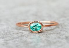 Oval apatite and diamonds engagement ring  Rose gold by ARPELC