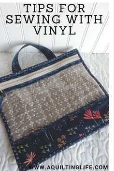 Tips for sewing with vinyl. Great ideas for making zipper pouches or bags with vinyl and plastic coated fabric. Sewing Hacks, Sewing Tutorials, Sewing Crafts, Sewing Tips, Pouch Tutorial, Leftover Fabric, Love Sewing, Sewing Projects For Beginners, Sewing Patterns Free