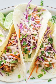 fish tacos with cabbage slaw ; fish tacos with cabbage slaw easy ; fish tacos with cabbage slaw tilapia ; fish tacos with mango salsa Cabbage Slaw For Tacos, Slaw For Shrimp Tacos, Spicy Fish Tacos, Easy Fish Tacos, Tilapia Fish Tacos, Easy Fish Taco Slaw Recipe, Healthy Fish Tacos, Blackened Fish Tacos, Cabbage Salad