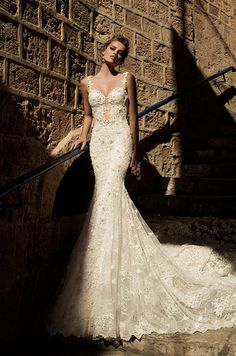 Sexy lace wedding dress with straps and pearls beading. Galia Lahav, Spring 2015