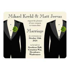Green Carnation Wedding Invitation for Gay Men IV