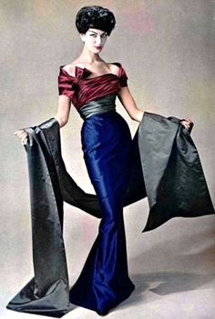 Simone d'Aillencourt in a three coloured gown by Pierre Balmain for L'Officiel, Autumn 1957. Photo by Philippe Pottier