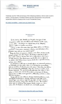The White House >> sent 11/20/13 >> Read this handwritten message from President Obama‏ >> Electronic communications have a reputation for being both impersonal and overly casual. This email from the White House tries to make a more personal appeal and raise the level of gravitas by embedding a scanned letter from the president. —Chad White, Principal of Marketing Research, ExactTarget
