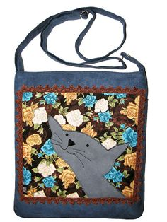 Smiling Cat Bag with Zipper Blue Messenger Bag with by ifONA