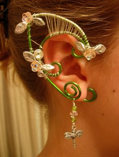 Pair of Lovely Faerie Elf Ear Cuffs with Czech Glass Flowers and Leaves and silver plated Dragon Fly Charms by MerlinsApprentice Elf Ear Cuff, Ear Cuffs, Headpiece Jewelry, Wire Jewellery, Jewlery, Bracelet Making, Jewelry Making, Elf Ears, Fairy Clothes