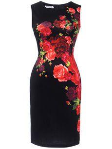 Elegant Round Neck Slit Floral Printed Bodycon Dress