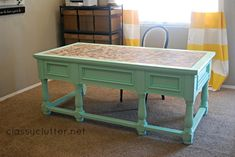 The Perfect Mint Paint Color and Herringbone Desk Makeover www.classyclutter.net