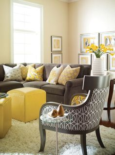 red gray yellow living rooms - Google Search
