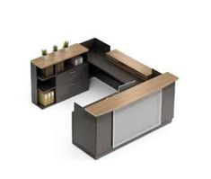 Save on modern reception desks from the Global Total Office Zira collection when you shop at OfficeAnything.com. This luxurious U shaped reception desk features a two tone Asian Night and Winter Cherry finish with glass and silver accents.