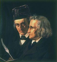 Links Wilhelm Grimm, rechts Jacob Grimm. Ölgemälde von Elisabeth Jerichau-Baumann (1865),