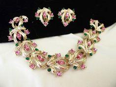 Pink Green Rhinestone Cuff Bracelet Clip Earrings Vintage Gold Plate Flower Leaf Set Coro by AnnesGlitterBug on Etsy