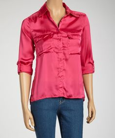 Get a basic look with a feminine flair. This smart button-up top combines a tailored look with an eye-catching sateen fabric.Measurements (size S): 25'' long from high point of shoulder to hem100% polyesterMachine wash; tumble dryImported