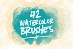42 Watercolor Brushes by The Digital Goodness Shop on Creative Market