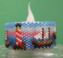 Three Christmas Ships Tea Light Cover by Diane Masters AKA Phoenix Wolf Creations