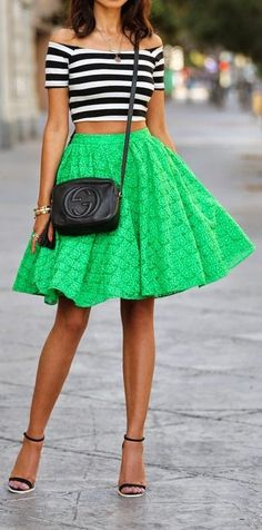 striped crop tops, bright green skirt