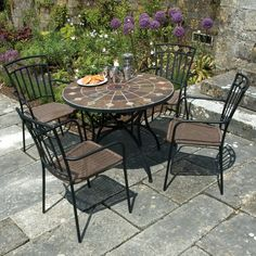 Sol 72 Outdoor Hiebert Dining Table & Reviews | Wayfair.co.uk Outdoor Tables And Chairs, Patio Table, Dining Table, Metal Garden Furniture, Patio Furniture Sets, Round Folding Table, Stone Table Top, Garden Dining Set, Garden Seating