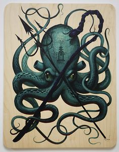 Jeff Soto - Sea No Evil 2011 Wood Print. Sold Out.