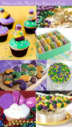 Mardi Gras party favors in purple, green, yellow/gold