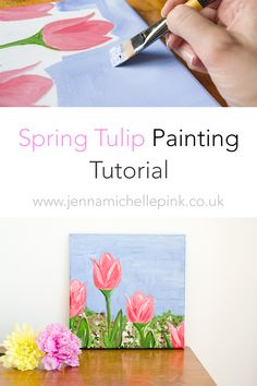 Spring Tulip Tutorial - Jenna Michelle Pink - An attractive and simple acrylic painting tutorial suitable for everybody.