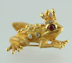 Rare Vintage 18K Gold, Diamond and Ruby Zadora Tree Frog Prince Brooch. Appraised at 9500 Dollars!