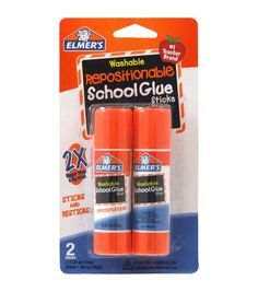 Stick embellishments on cards, charts, posters and much more with the Elmers Repositionable School Glue Sticks. The glue dries clear and goes on smooth, which makes it easy for kids to use. You can st
