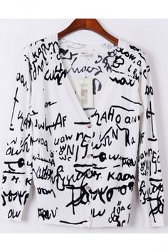 Womens V Neck Letters Patterned Modest #Cardigan.#Cheap Sweaters #2014 outfit,sweaters for fall,sweaters #girls,#chic sweaters #womens,cute sweaters for teens,#cute sweaters with leggings,fashion #sexy sweaters #party,#sweater #ugy #christmas pinkqueen.com
