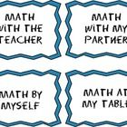 This is a set of bulletin board labels for your Math Workshop organization station! Just laminate, cut out, and use in a pocket chart or on a bulle...