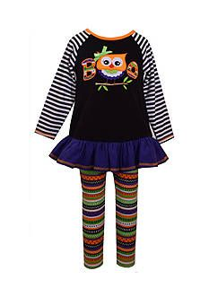 Rare Editions Little Girls Black Zebra Wizard OWL Halloween Leggings 2-pc set