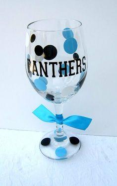 Carolina Panthers Wine or Iced Beverage Glass with by WeSpeakVinyl, $14.00 @Fanatics ® #FanaticsWishList