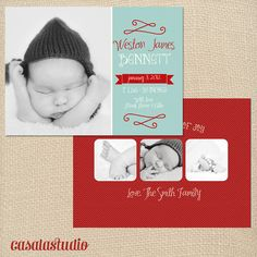 Whimsical Baby Birth Announcement Template Custom by casalastudio,