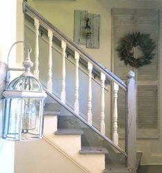shabby chic painted staircase