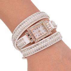 Fashion Women's Sequin Button Circle Chain Dial Bracelet Wrist Watch