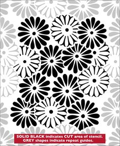 Asters stencil from The Stencil Library JAPAN range. Buy stencils online. Stencil code JA59.