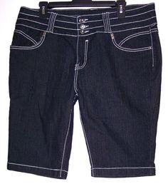 Diamonte Shorts 20 Stretch Denim Rhinestone Buttons Bermuda Short Pants Women's #Diamonte #BermudaWalking #Summer