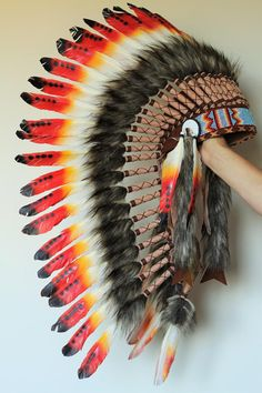 For Children: Long Indian Three colors red Feather Headdress by theworldoffeathers. Explore more products on http://theworldoffeathers.etsy.com