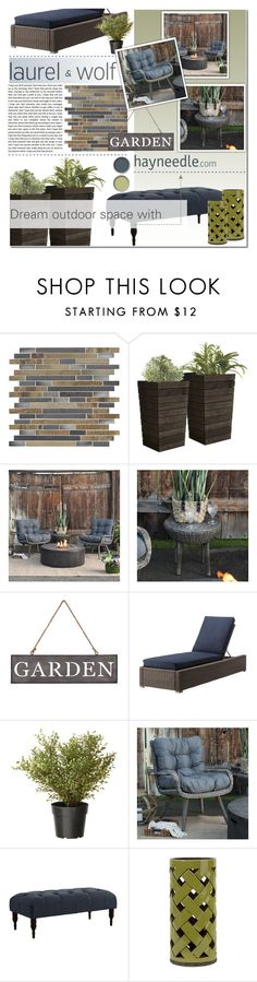 """""""Dream outdoor space with Hayneedle.com"""" by anna-anica ❤ liked on Polyvore featuring interior, interiors, interior design, home, home decor, interior decorating, GAS Jeans, Threshold, contestentry and dreamoutdoorspacewithhayneedle"""