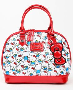 f6b7916f0 Hello Kitty Vintage Print Patent Emboss Dome Top Handle Bag,Multi,One Size.  Kittyworks' Cats
