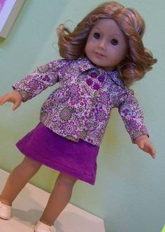 "Saint Nolt Sews; Doll:  Jacket - Empire Peacoat from Heritage Doll Fashions at Liberty Jane Patterns - This is a quick sew and a great fitting jacket for an American Girl doll.  The only change I made was to add velcro instead of real buttonholes.  Skirt - McCall's 3474 - This is an A-line skirt for 18"" dolls.  A 10 minute project.  My comment to others, cut 5"" of elastic rather than 5 1/2"" for the back of the skirt"