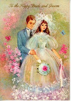 Bride and Groom Wedding Congratulations Vintage Greeting Card-Used-Beautiful Vintage Wedding Cards, Vintage Wedding Invitations, Vintage Greeting Cards, Vintage Bridal, Greeting Cards Handmade, Family Day Quotes, June Bride, Craft Room Design, Barbie Wedding