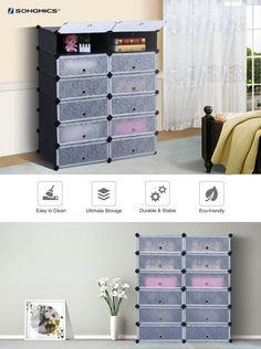 SONGMICS DIY Shoe Rack 12-cube Shoe Cabinet Plastic Shoe Storage Organizer with Doors Black ULPC26H