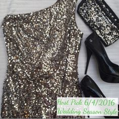 HP 6/4/16 One Shoulder Sequin Dress Absolutely stunning sequin party dress, with one shoulder and ruched details! Silver sequins on top of olive material (looks silver when worn). The 3rd picture is of the ruching. There is one spot missing sequins (see 4th pic). The defect cant been seen while worn, but the price does reflect it. Only worn once, tons of life left!   Closet details Fast shipping no trades  no holds  offers only through offer button  amazing deals can be made without bundle…