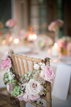 Wedding Party Chair Decorations ... pink #country rose wedding ... Wedding ideas for brides, grooms, parents & planners ... https://itunes.apple.com/us/app/the-gold-wedding-planner/id498112599?ls=1=8 … plus how to organise an entire wedding ♥ The Gold Wedding Planner iPhone App ♥